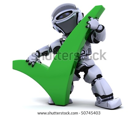3d render of a robot with a symbol - stock photo