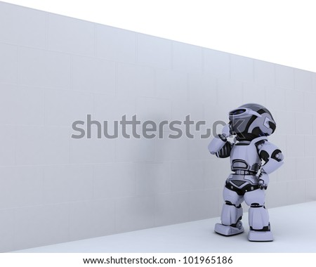 3D render of a Robot with jigsaw puzzle business metaphor - stock photo