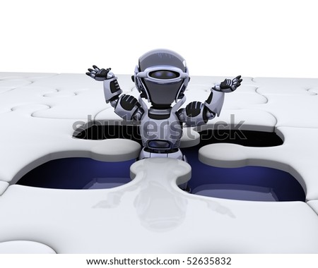 3D render of a robot with the final piece of the jigsaw puzzle - stock photo