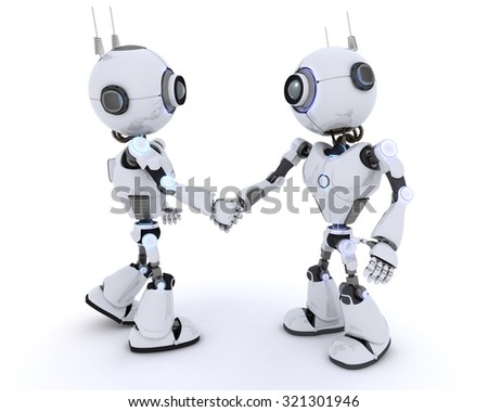 3D Render of a Robots shaking hands - stock photo