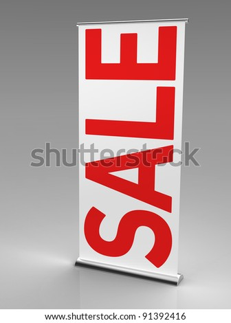 "3d render of a roll up banner with a big inscription saying ""sale""  on a grey background"