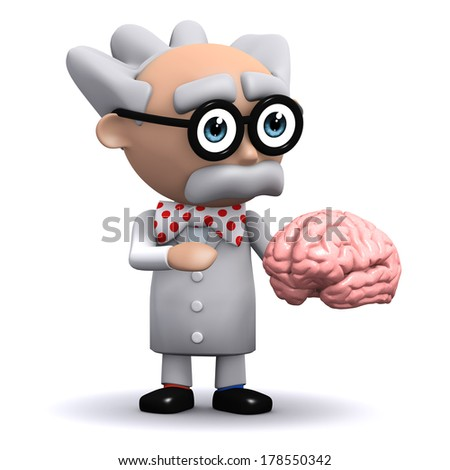3d render of a scientist holding a brain - stock photo