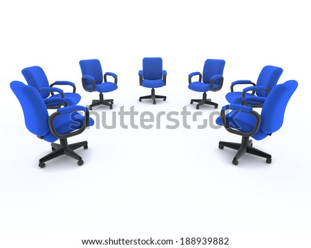 3d render of a semi circle of office chairs