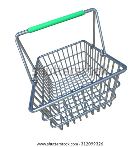 3d render of a shopping basket with green handle.