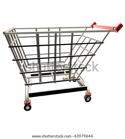 3D render of a shopping cart over white background