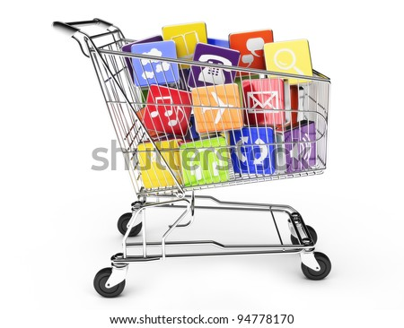 3d render of a shopping cart with application software icons isolated on a white background - stock photo