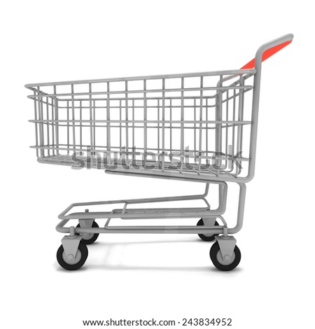 3d render of a shopping trolley. - stock photo