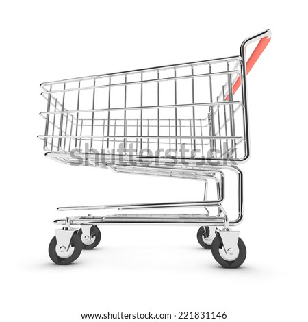 3d render of a shopping trolley from a low angle - stock photo