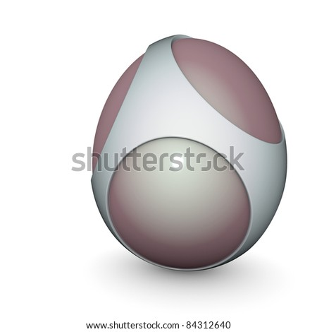 3d render of a silver alien techno egg object - stock photo