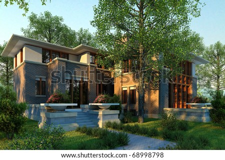 3D render of a single family house - stock photo