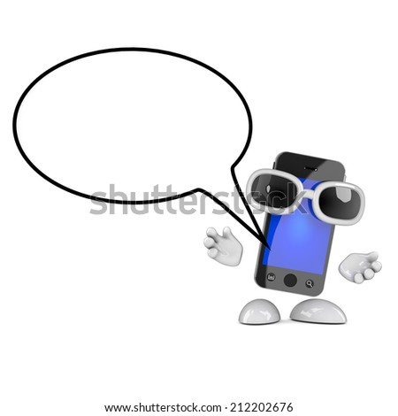 3d render of a smartphone character with a speech balloon