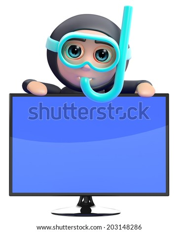 3d render of a snorkel diver and an lcd television - stock photo