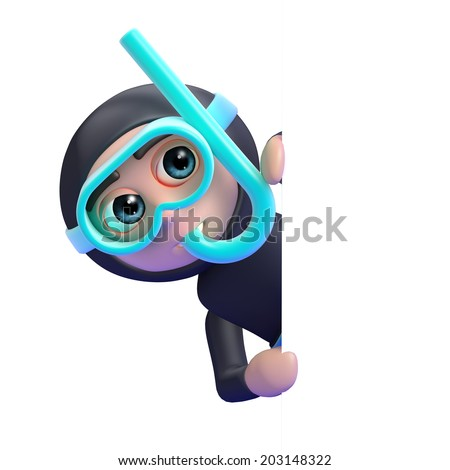 3d render of a snorkel diver looking around a blank space - stock photo