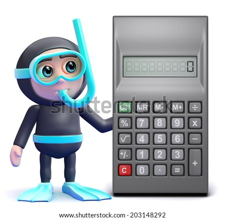 3d render of a snorkel diver with a calculator - stock photo