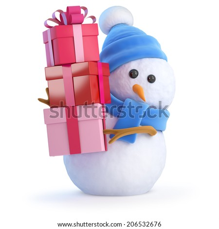 3d render of a snowman carrying lots of Christmas gifts