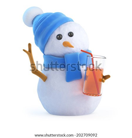3d render of a snowman in a blue scarf and hat having a nice cold drink at the party - stock photo