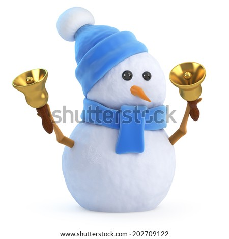 3d render of a snowman in a blue scarf and hat ringing some Christmas bells - stock photo