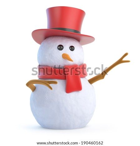 3d render of a snowman in a top hat pointing - stock photo