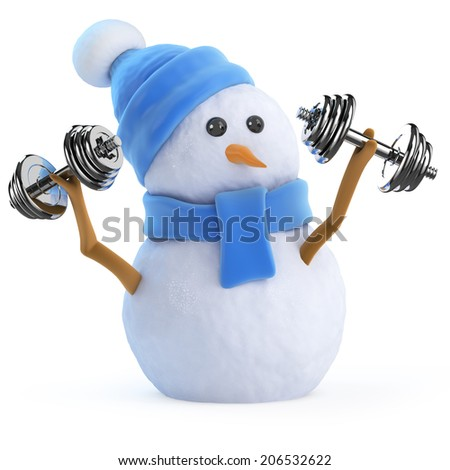3d render of a snowman lifting weights - stock photo