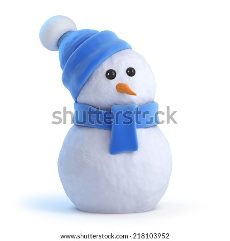 3d render of a snowman wearing a blue woolen hat and scarf - stock photo