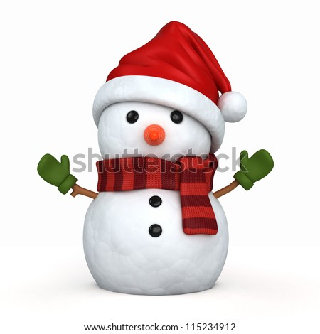 3d render of a snowman wearing santa hat and gloves - stock photo