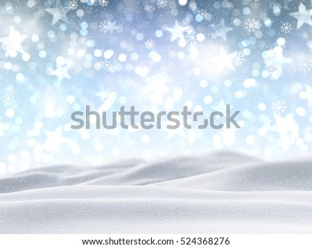 3D render of a snowy landscape