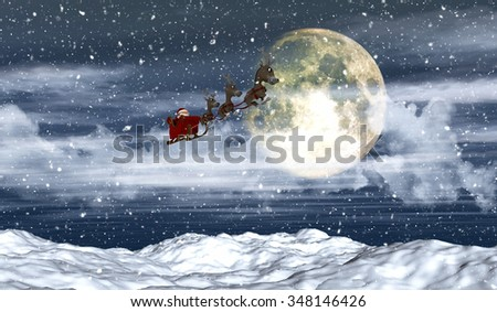 3D render of a snowy landscape with Santa flying in front of the moon