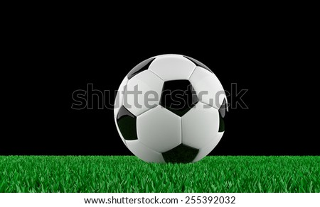 3d render of a soccer ball on a grass pitch - stock photo