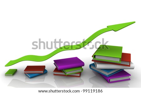 3D render of a stacks of books increasing height with arrow showing progress
