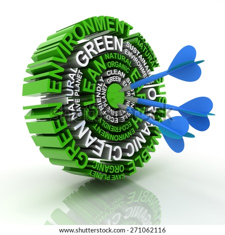 3d render of a target formed by words related to environmental conservation - stock photo