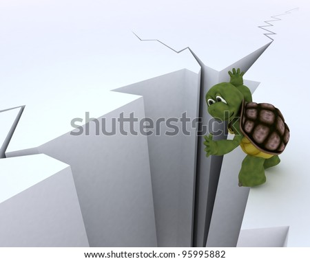 3D render of a tortoise on a cliff edge - stock photo