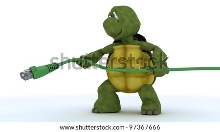3D render of a tortoise with RJ45 cable