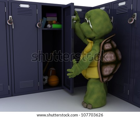 3D render of a tortoise with school locker