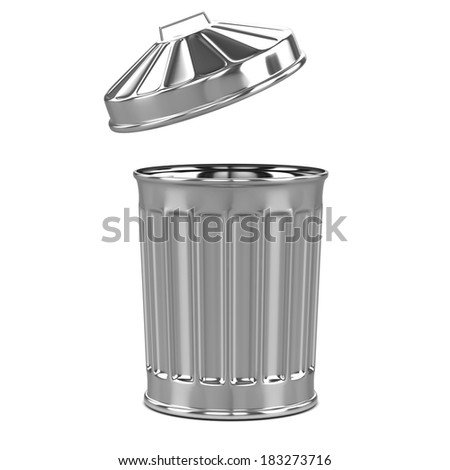 3d render of a trash can from the side