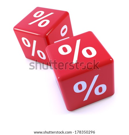 3d render of a two red dice with percentage markings