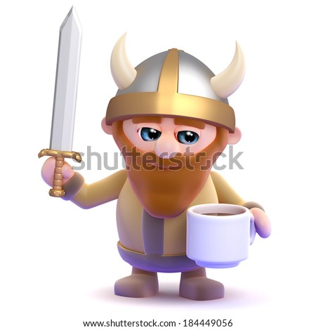 3d render of a viking drinking from a cup - stock photo