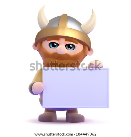 3d render of a viking holding up a blank banner - stock photo