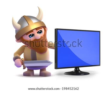 3d render of a viking next to a flatscreen television monitor - stock photo