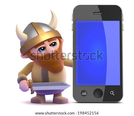 3d render of a viking next to a smartphone - stock photo