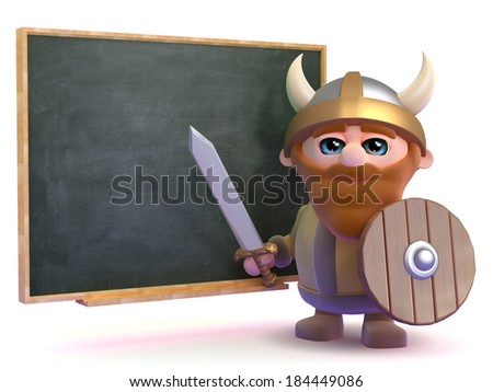 3d render of a viking stood next to a blackboard - stock photo