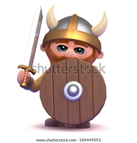 3d render of a viking using his shield - stock photo