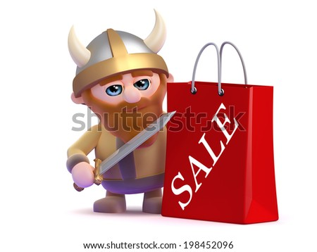 3d render of a viking with a sale shopping bag - stock photo