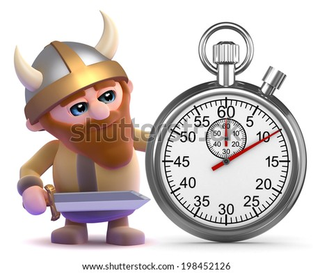 3d render of a viking with a stopwatch - stock photo