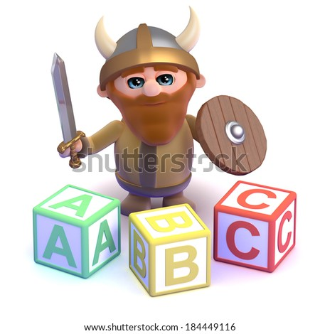 3d render of a viking with some alphabet blocks - stock photo