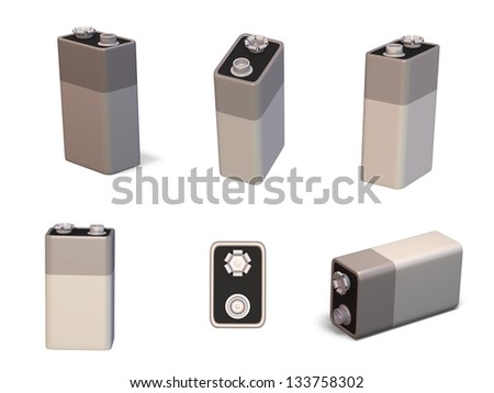 3d render of a 9 volt PP3 battery in different orientations - stock photo