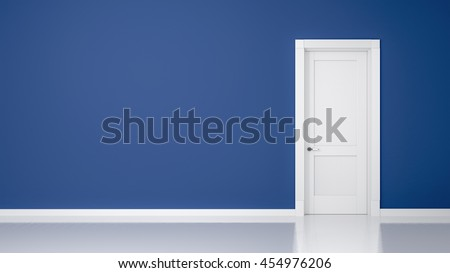 3D render of a wall and a door in an empty flat with space for your content