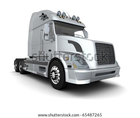Semi Truck Black And White White American Semi Truck
