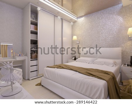 3D render of a white bedroom in modern style