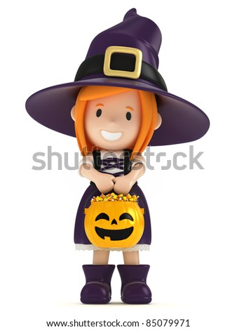 3D render of a witch kid - stock photo
