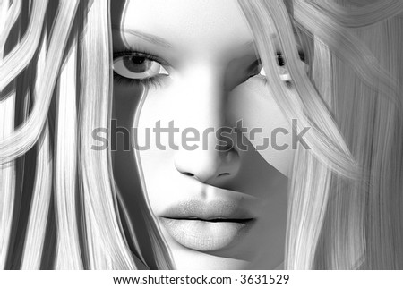 3D render of a womans face - stock photo